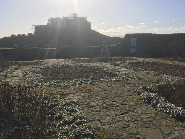 Lindisfarne castle covered in scaffolding. ©Gary Webb 2018