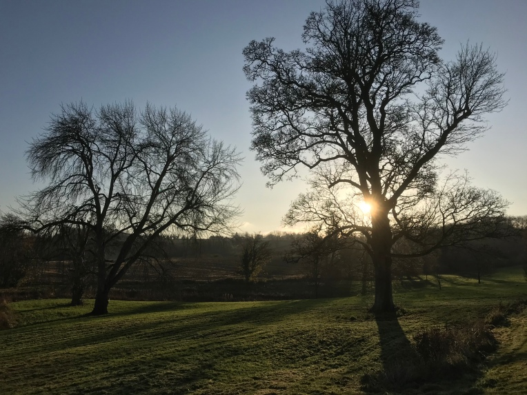 A sunset as viewed from a garden in Broadwell, north Cotswolds.
