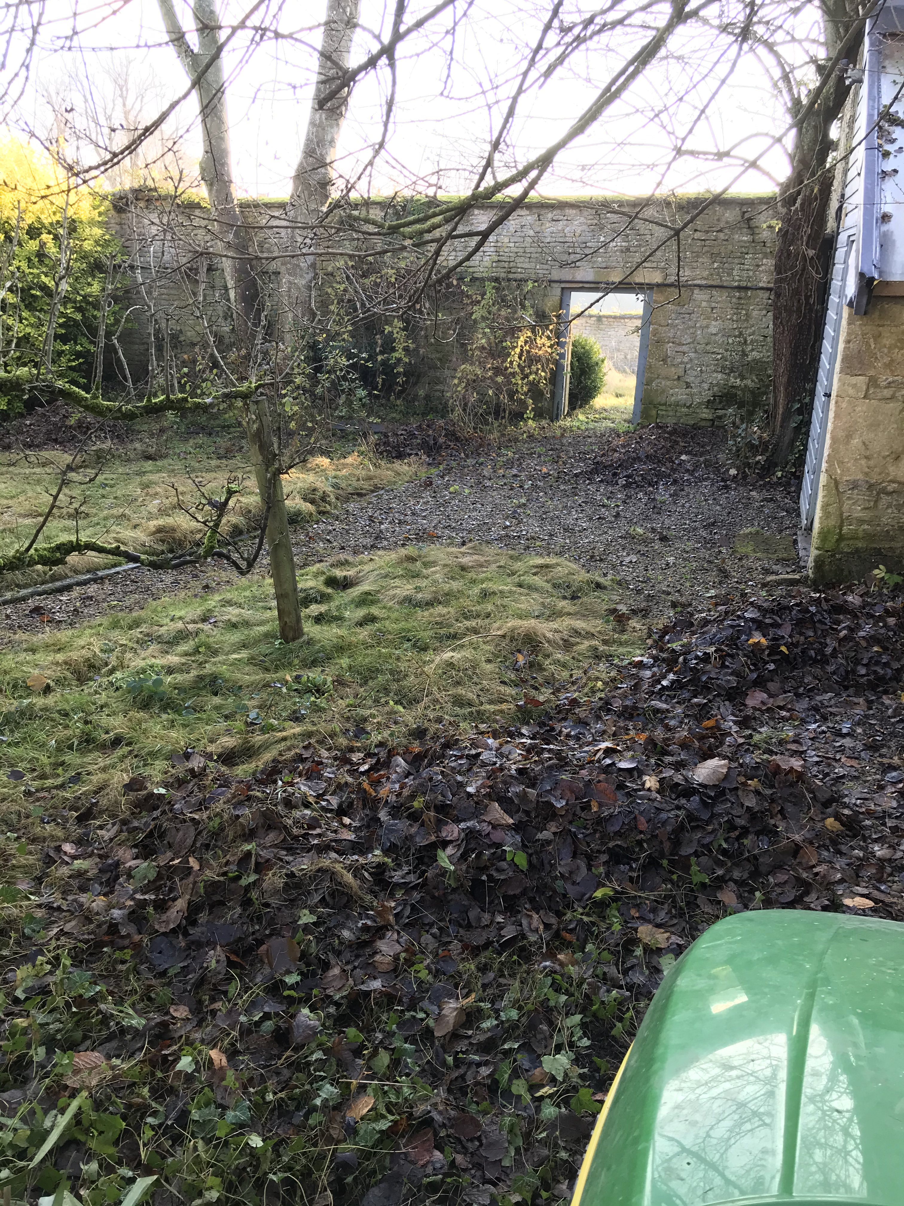 Leaf clearing  in the orchard at Broadwell