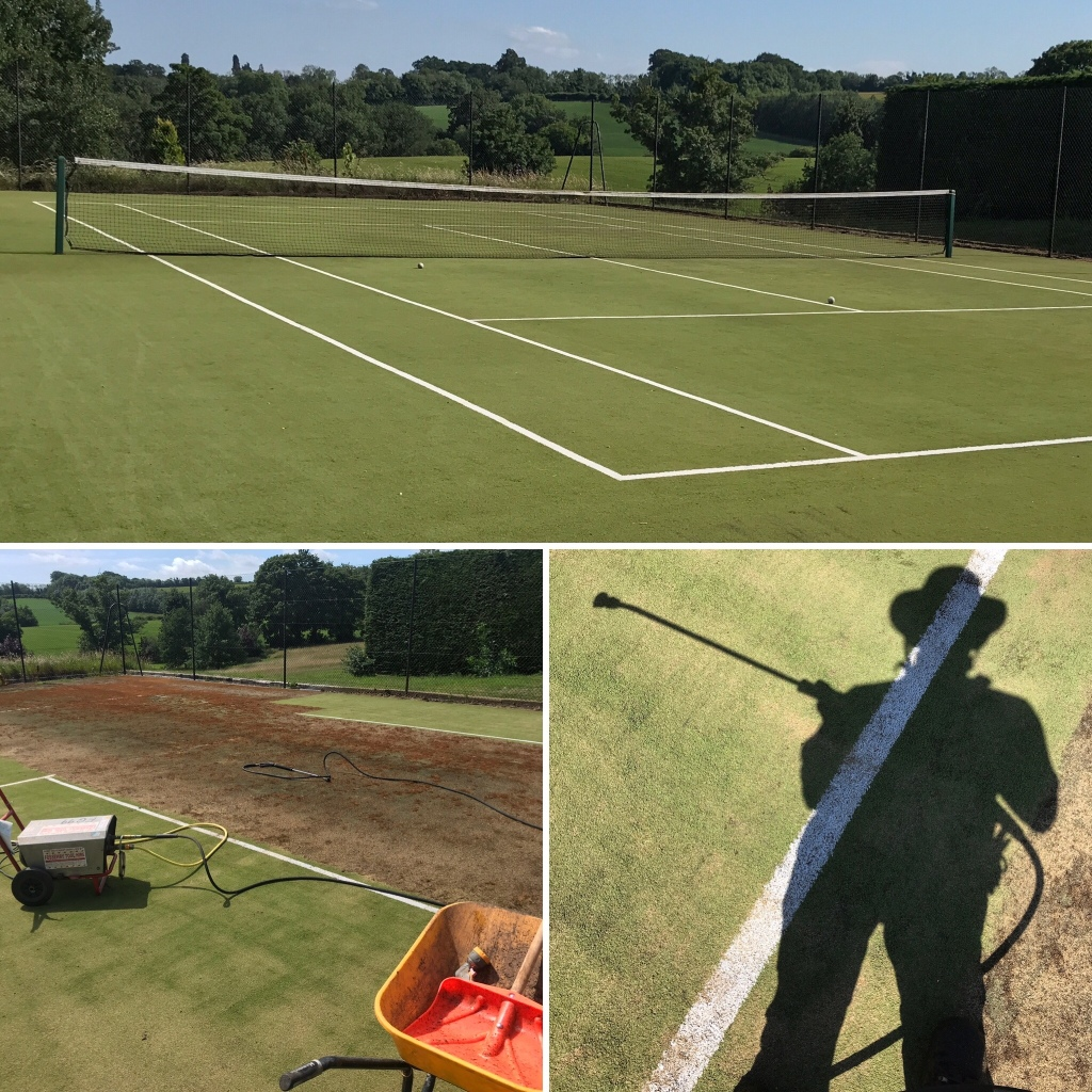 The cleaning of a tennis court in a Cotswolds garden