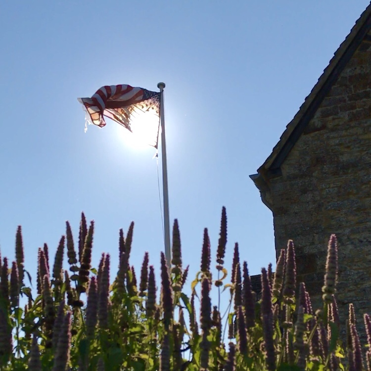The Stars and Stripes flag flying  near the Union Jack at Sulgrave Manor