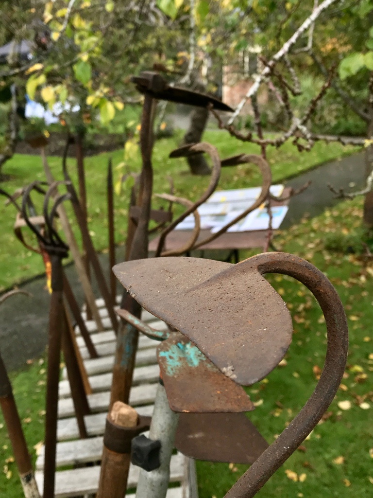 Mixed garden tools on display at Hill Close Gardens